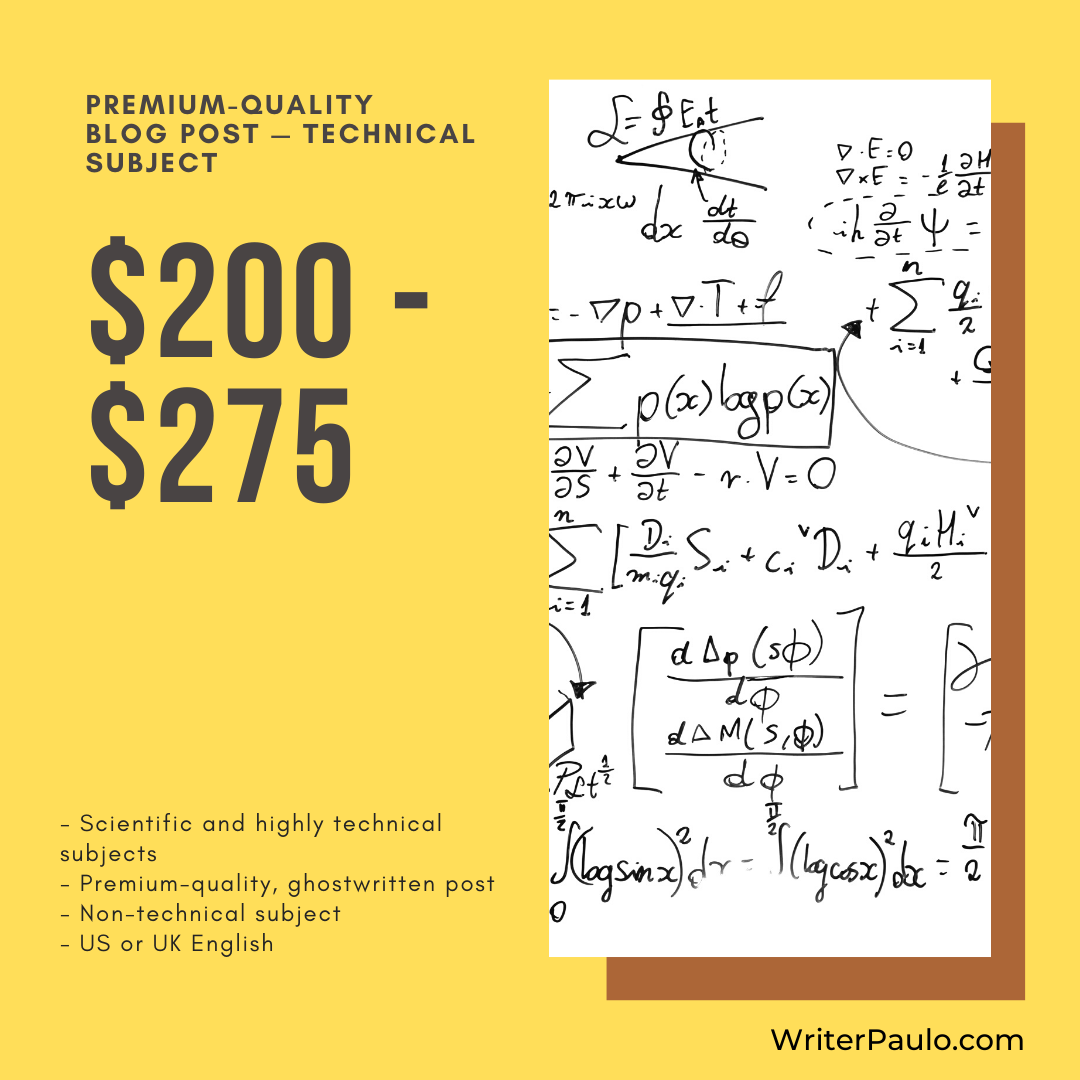 blog post pricing technical subject